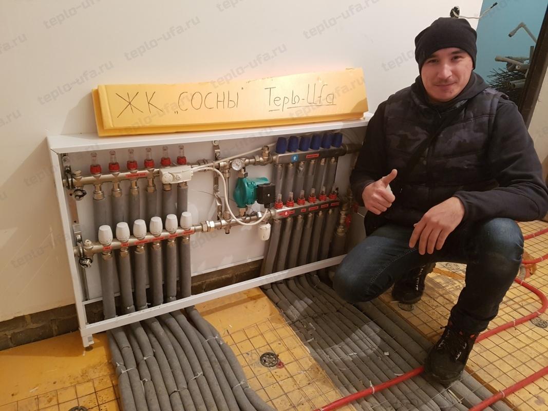 монтаж отопления сосны 65 м2